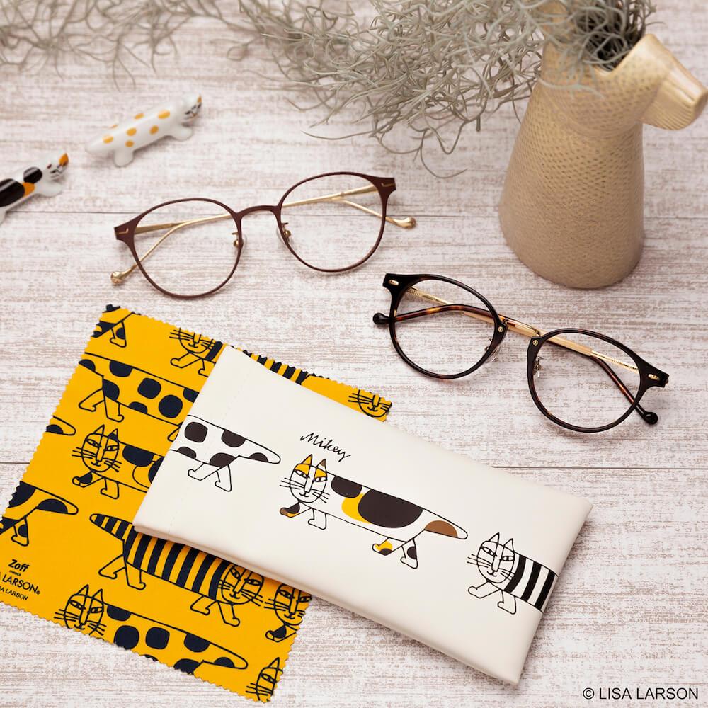 猫のマイキー眼鏡にブチ柄&三毛柄のオリジナルケース&メガネ拭きセット