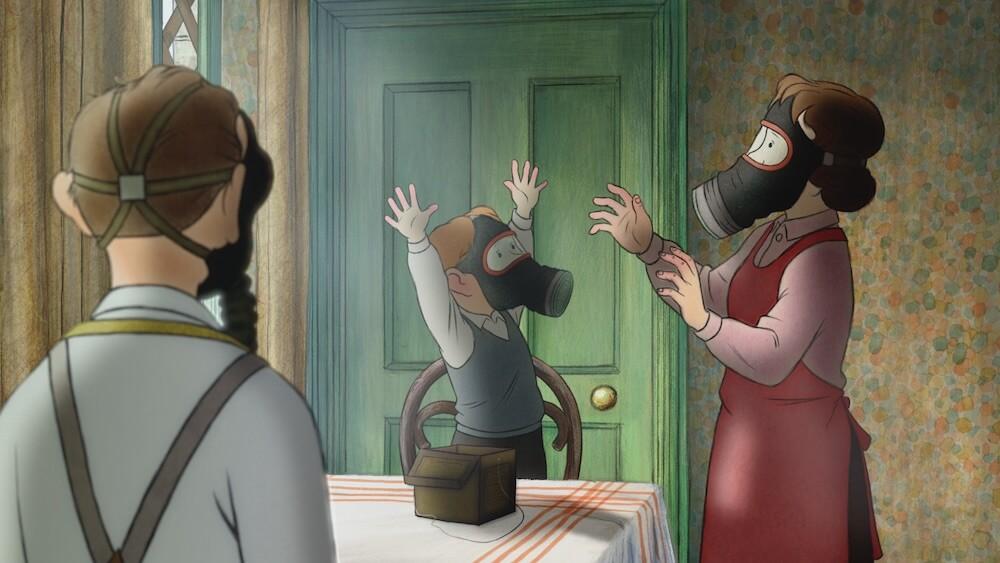 戦時中にガスマスクを装着するシーン by アニメ映画「エセルとアーネスト ふたりの物語」