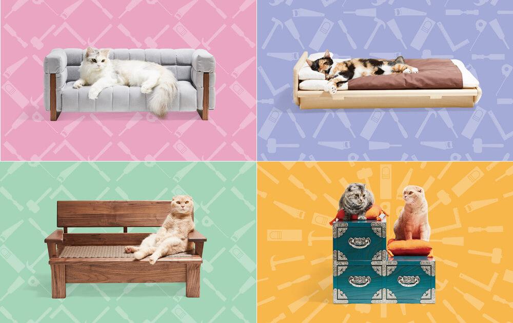 猫サイズの家具「ネコ家具」の新作4点