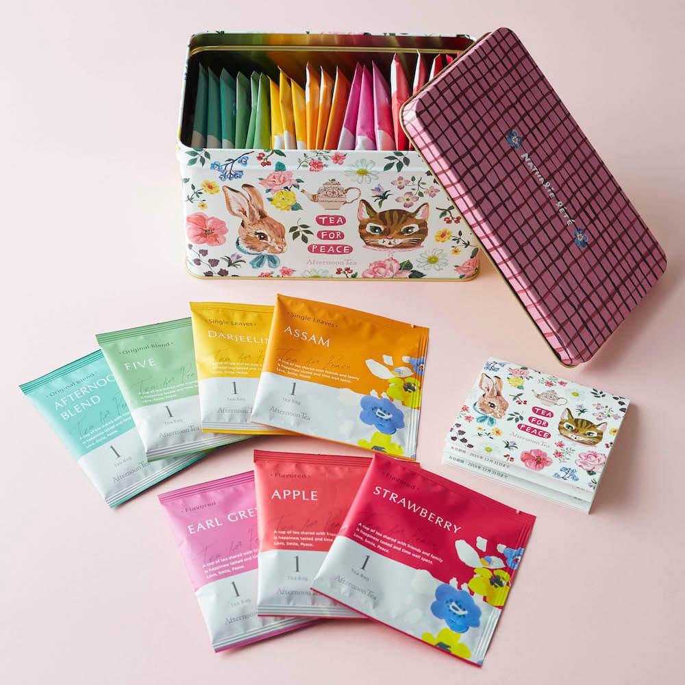 「猫×うさぎ×お花」柄パッケージの「Tea for Peace BOX」 by アフタヌーンティー