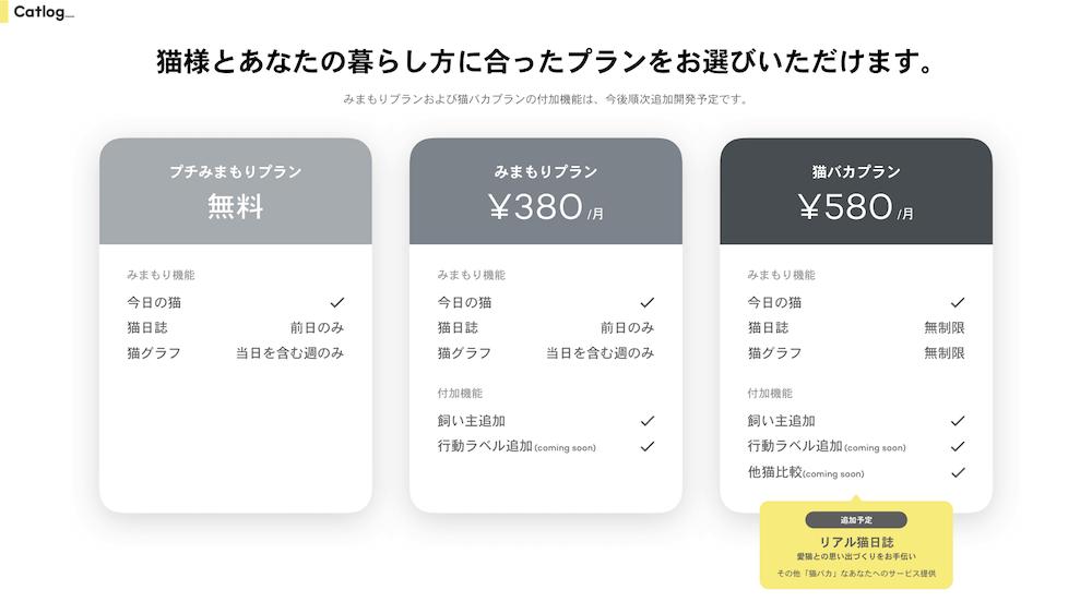 Catlog(キャトログ)のアプリのサービスプラン
