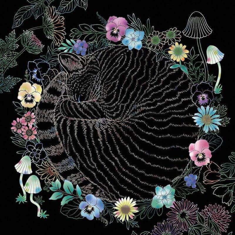 猫の下絵が描かれたブラックシートに色付けしたイメージ by スクラッチアート本「猫と花と可愛いもの」