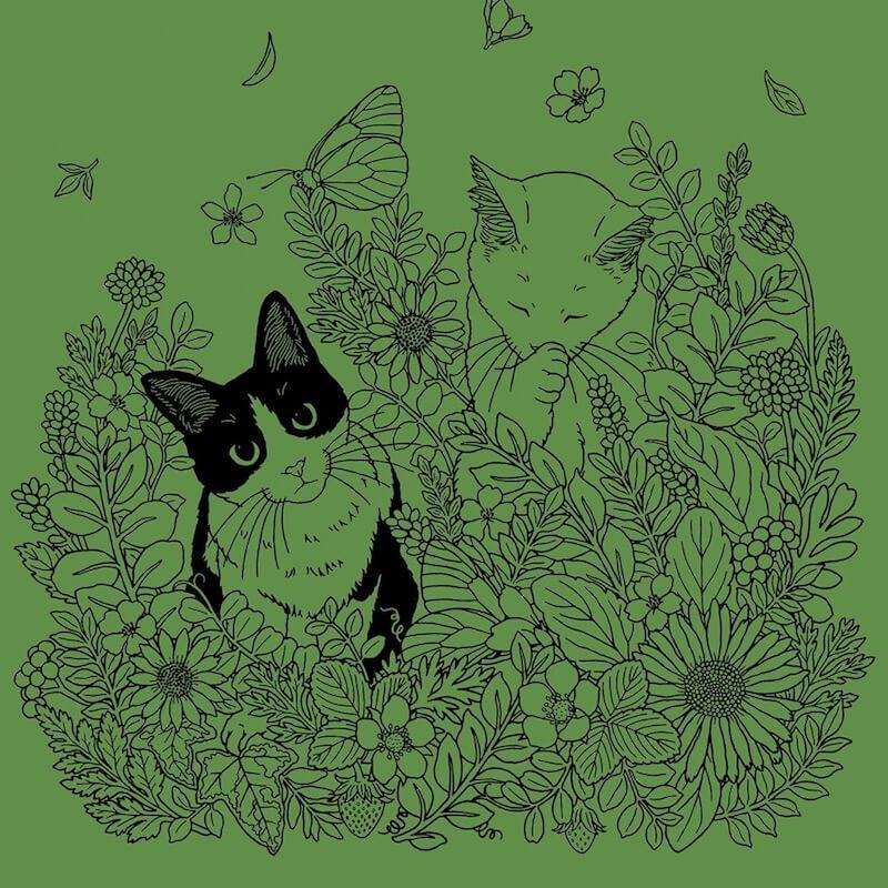 猫の下絵が描かれたダークグリーンシート by スクラッチアート本「猫と花と可愛いもの」