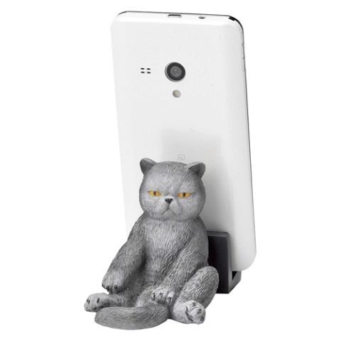 スコ座りをした猫のスマホスタンド(スコグレー)