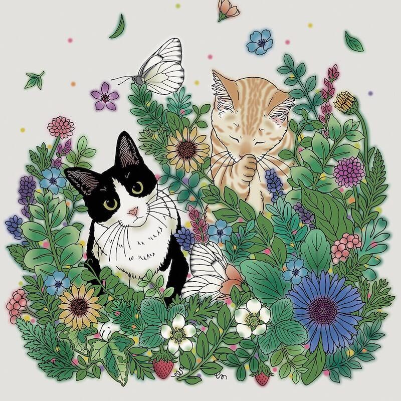 猫の下絵が描かれたダークグリーンシートに色付けしたイメージ by スクラッチアート本「猫と花と可愛いもの」