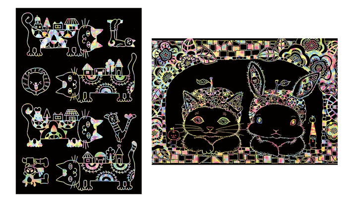 こころをととのえる大人のスクラッチアート「Cat In Wonderland -ネコと不思議な仲間たち-」の猫の絵完成イメージ