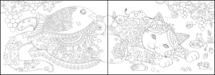 ぬり絵BOOK「シロクロ世界のにゃんコロリアージュ」の猫の下絵完成イメージ