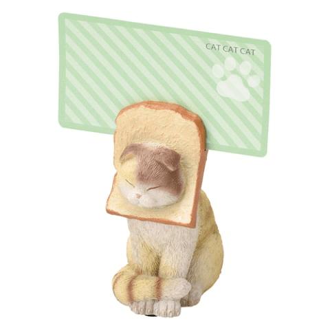 食パン猫のメモクリップにカードを挟んだイメージ(スコティッシュフォールド)