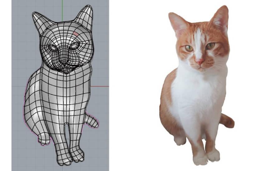 猫の写真を元にCADで3Dデータを制作