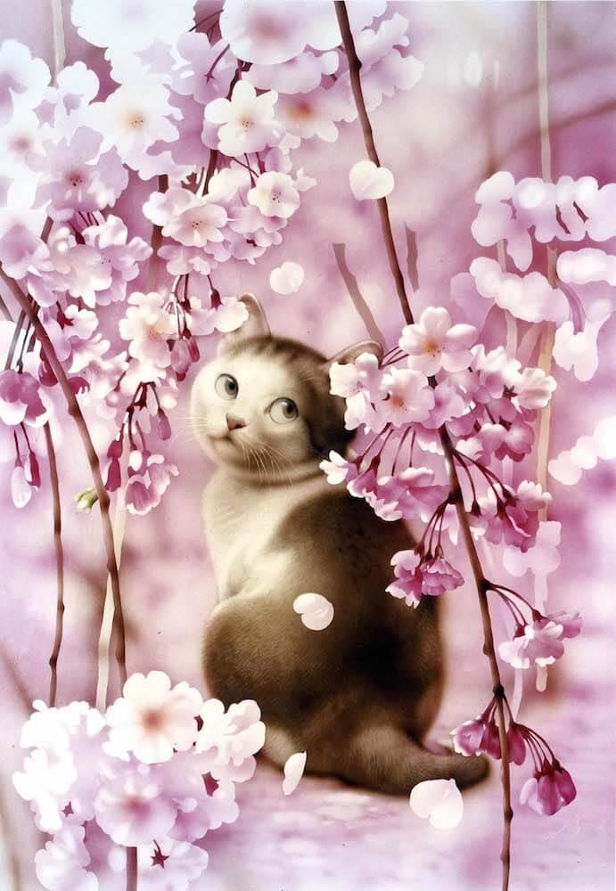 ビッグコミックオリジナルの表紙絵「猫のイラスト」by 村松誠 原画展「犬猫イラスト展」