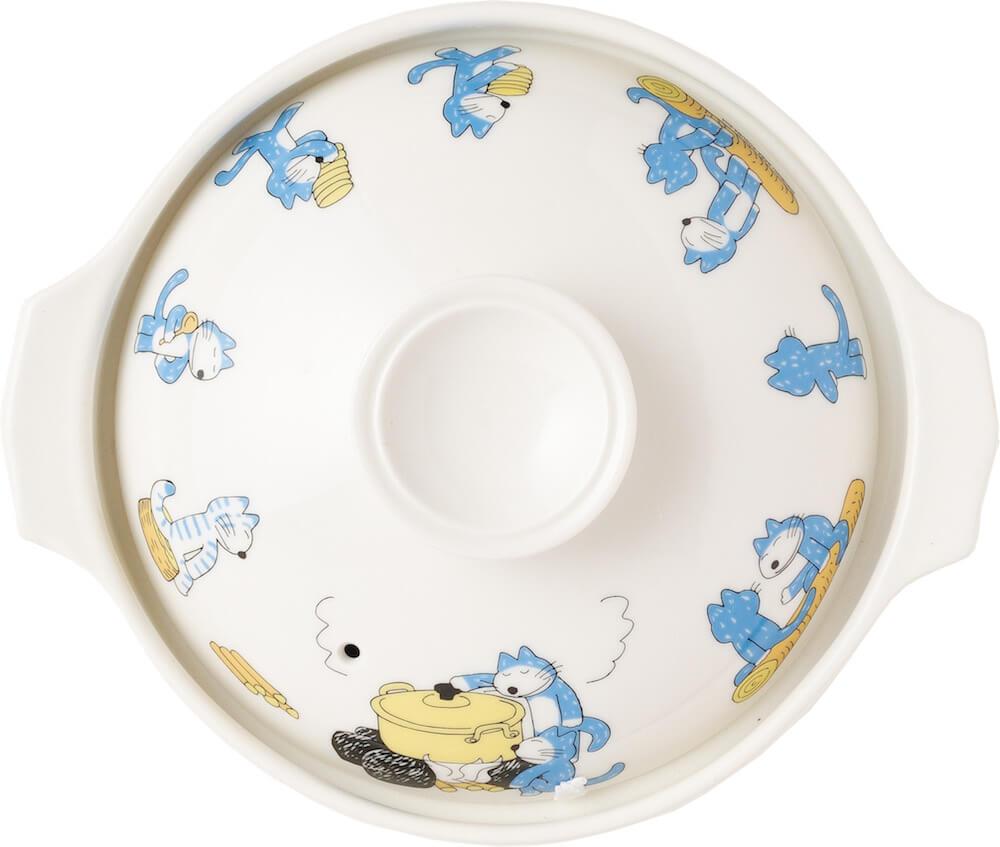 「11ぴきのねこ」のイラストがデザインされた土鍋のふた(真上から見たイメージ)