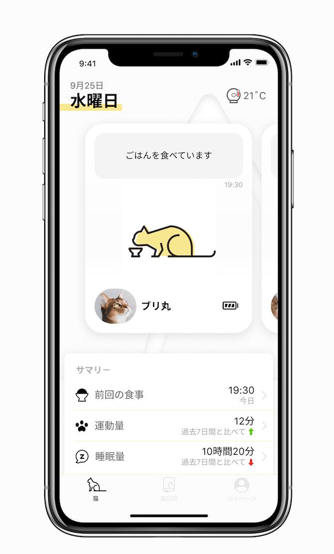 猫の当日の行動サマリー by Catlog(キャトログ)のスマホアプリ画面