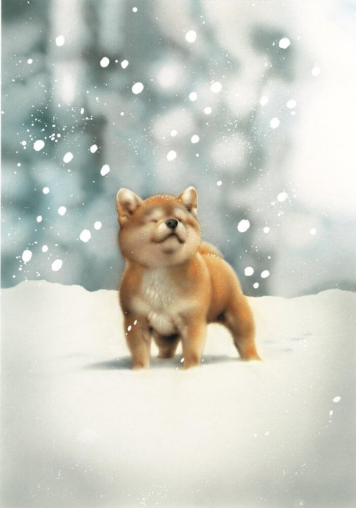 ビッグコミックオリジナルの表紙絵「犬のイラスト」by 村松誠 原画展「犬猫イラスト展」