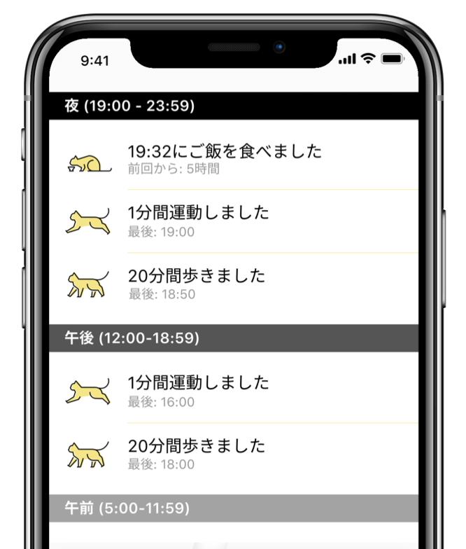 猫の1日の行動履歴が分かるタイムライン by Catlog(キャトログ)のスマホアプリ画面