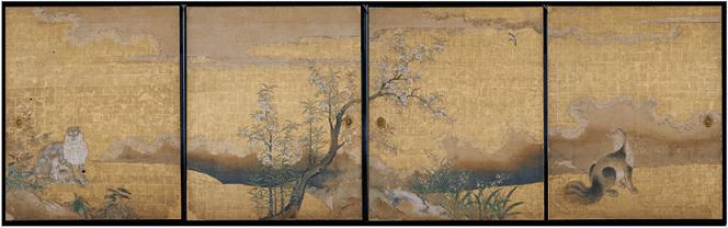 名古屋城 本丸御殿障壁画 表書院三之間西側襖絵4面「麝香猫図(じゃこうねこず)」