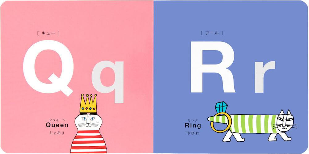 アルファベット「Q」「R」のページ by リサ・ラーソンのABCブック