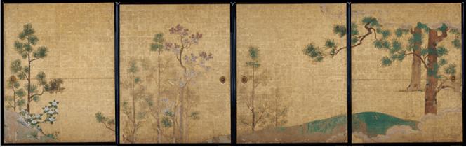 名古屋城 本丸御殿障壁画 表書院二之間東側襖絵4面「槙楓椿図(ほきかえでつばきず)」