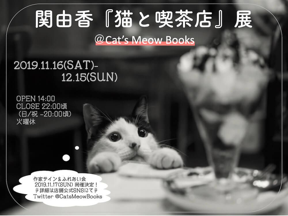 関由香さんの個展「猫と喫茶店」展のメインビジュアル in Cat's Meow Books(キャッツ ミャウ ブックス)