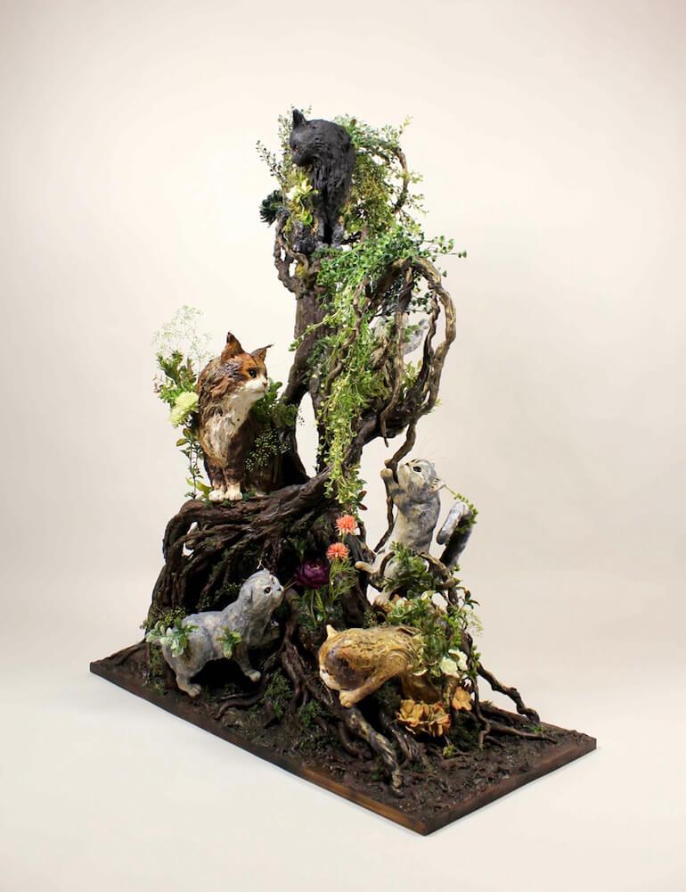粘土彫刻家・山羊蔵の猫アート作品 in  ねこ休み展