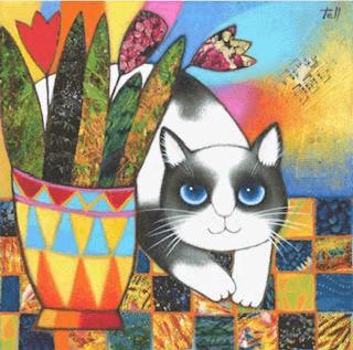 猫の絵作品「ニーニョ トラビエソ」(いらずらっこ) by ピラール・テリ