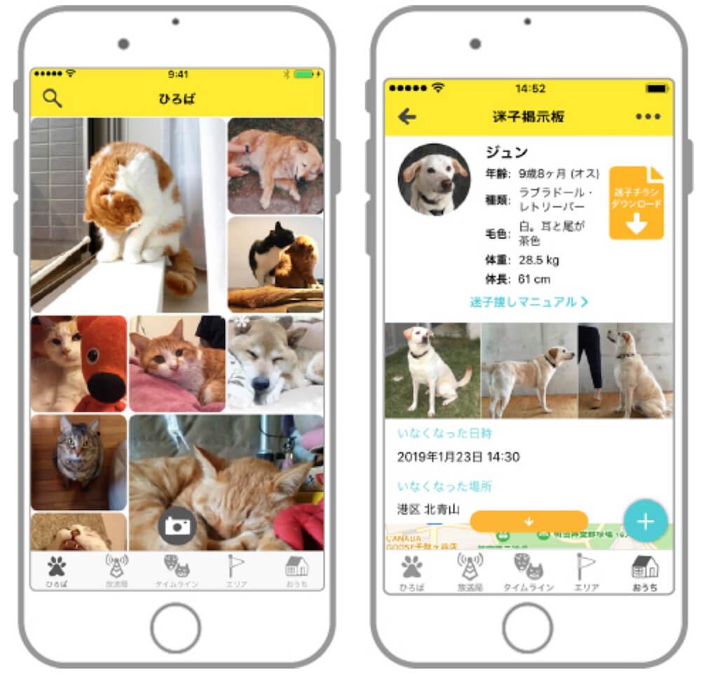 犬猫写真専用の投稿アプリ「ドコノコ」のアプリ画面イメージ