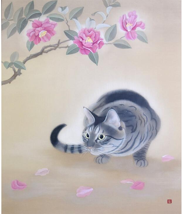 日本画家・幸田史香さんの作品「山茶花」