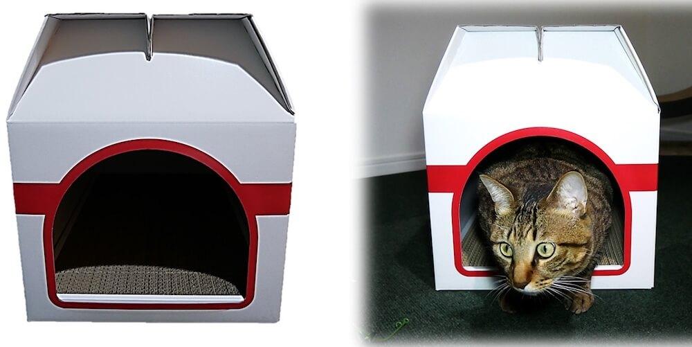 爪とぎ一体型の猫ハウス「つめとぎプレゼントBOX」の正面イメージ