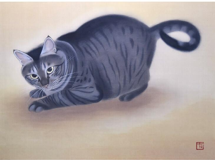 日本画家・幸田史香さんの猫の絵画作品「瞬」