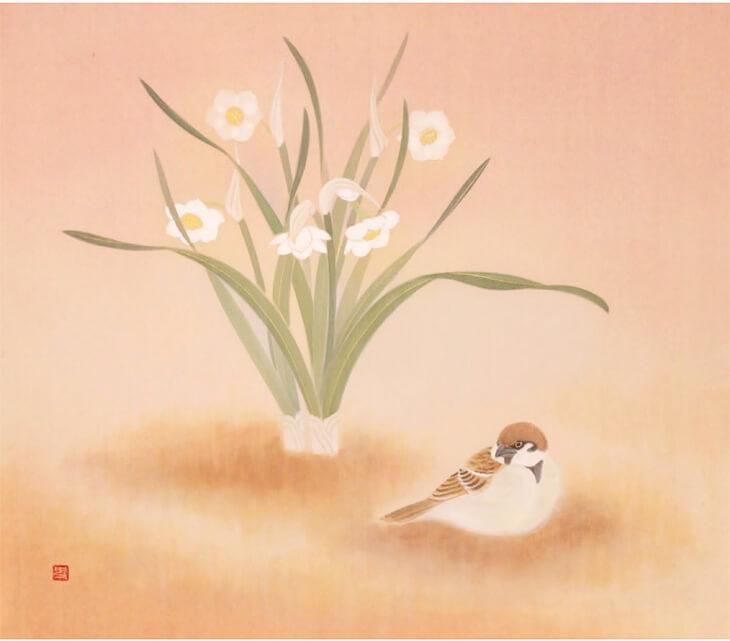 日本画家・幸田史香さんの花の絵画作品「春のとなり」