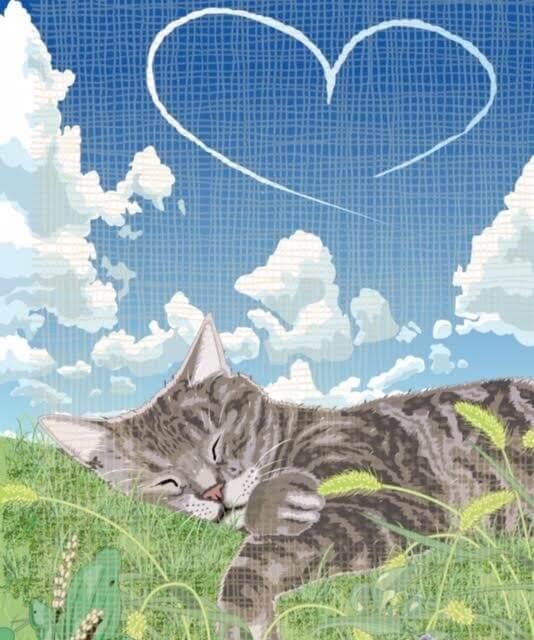 猫の絵作品「境界線から解き放たれて」 by 勝間としを