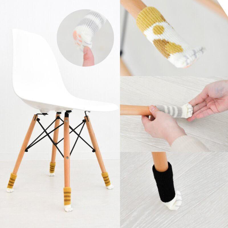 椅子の足に履かせて床の傷を抑えてくれるネコ足ソックス