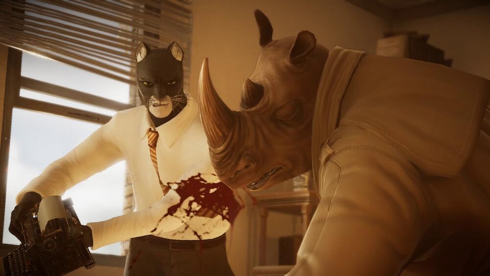 黒猫探偵ジョン・ブラックサッドがサイのキャラクターに反撃するシーン by BLACKSAD: UNDER THE SKINのゲーム画面イメージ