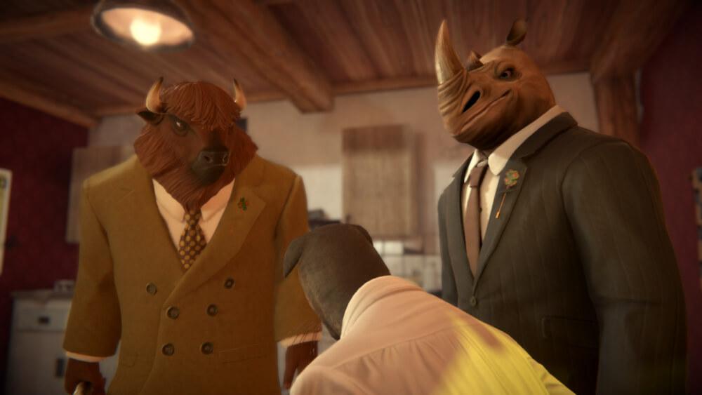 バッファローとサイのキャラクターが主人公の黒猫探偵を襲撃するシーン by BLACKSAD: UNDER THE SKINのゲーム画面イメージ