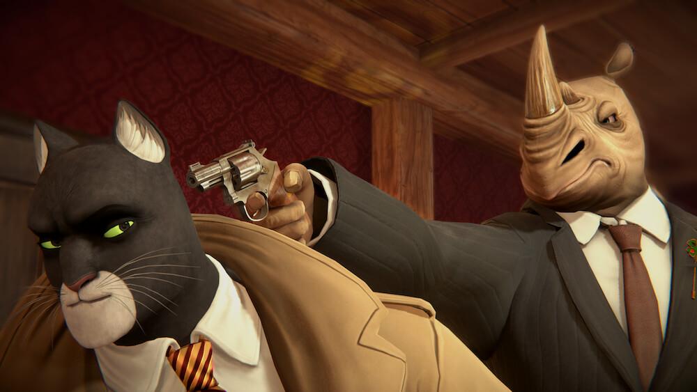 サイのキャラクターが主人公の黒猫探偵に銃を突き付けるシーン by BLACKSAD: UNDER THE SKINのゲーム画面イメージ