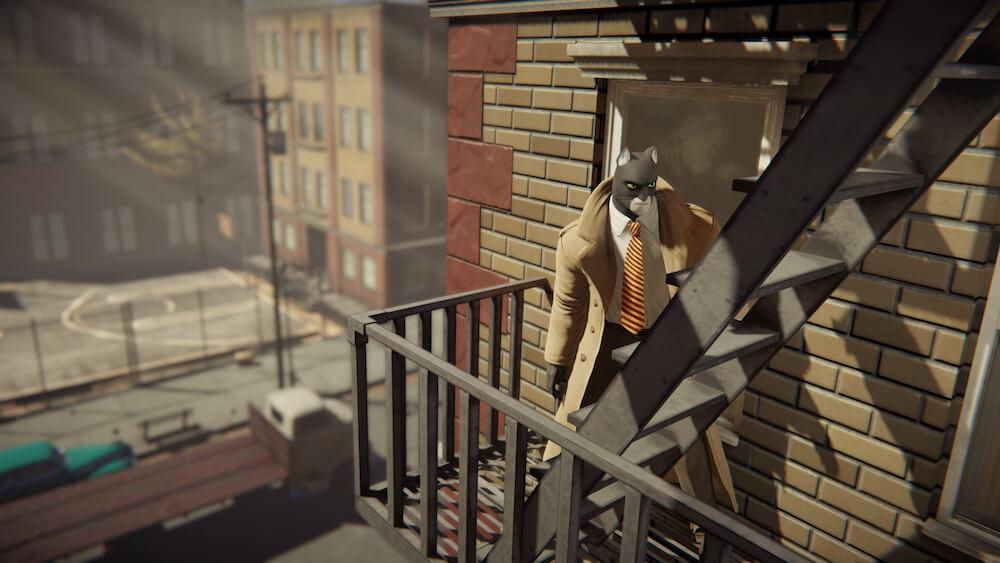 ニューヨークのビルの外階段を登る黒猫探偵のジョン・ブラックサッド by BLACKSAD: UNDER THE SKINのゲーム画面イメージ