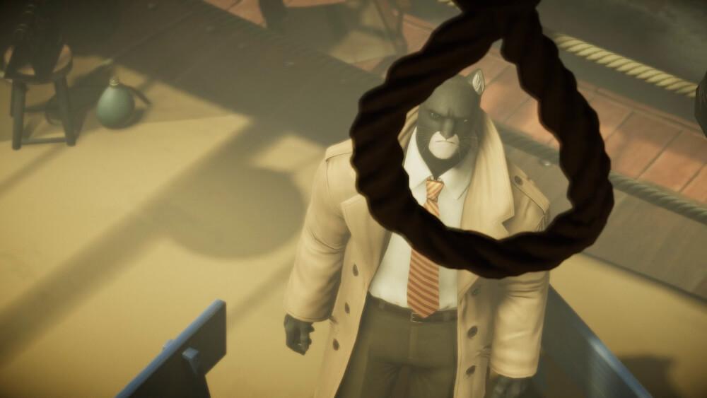 事件の現場となったロープを睨む主人公の黒猫ジョン・ブラックサッド by BLACKSAD: UNDER THE SKINのゲーム画面イメージ