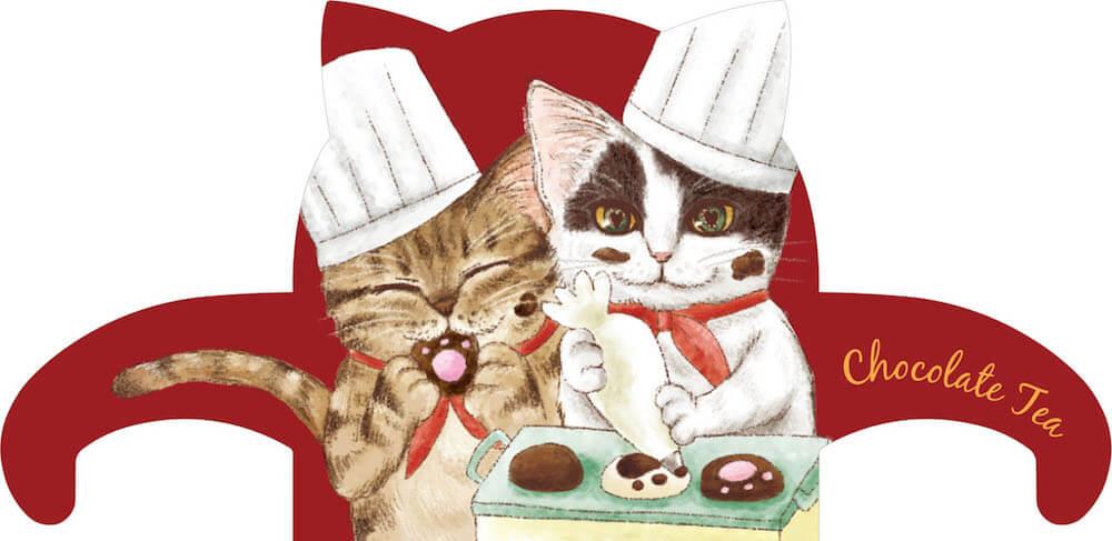 猫型ティーバッグタグ「カカオ(♀) キジトラ/トリュフ(♂) 白黒猫」 by スウィートキャットカフェ(チョコレートティー)