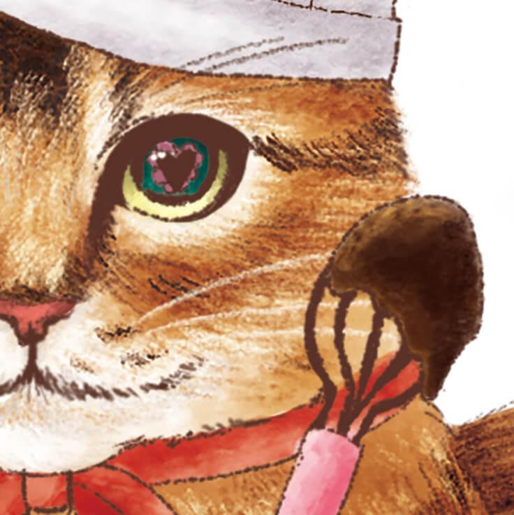 猫のイラストの目の中はハートマークがデザイン by スウィートキャットカフェ(チョコレートティー)