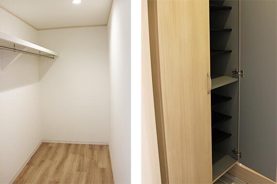 猫共生住宅のテラスハウス「ワコーレヴィアーノ高丸 猫の家」のウォークインクローゼット&靴箱