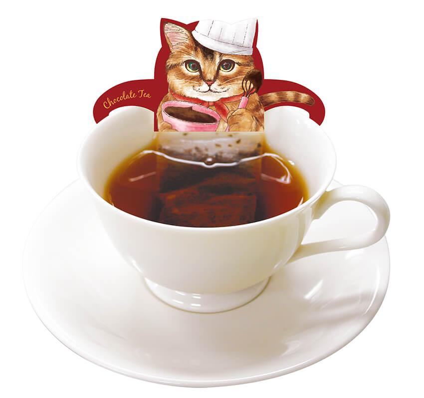 猫が紅茶風呂に浸かっているように見えるティーバッグ by スウィートキャットカフェ(チョコレートティー)