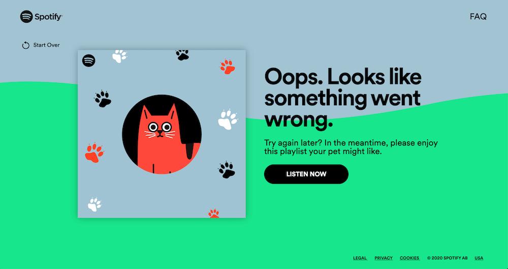 Spotifyのペットプレイリスト作成失敗画面