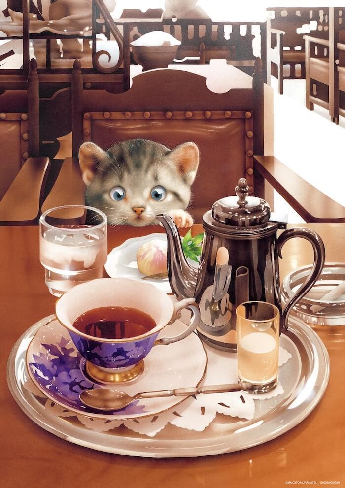 紅茶セットを見つめる猫のイラスト by 村松誠