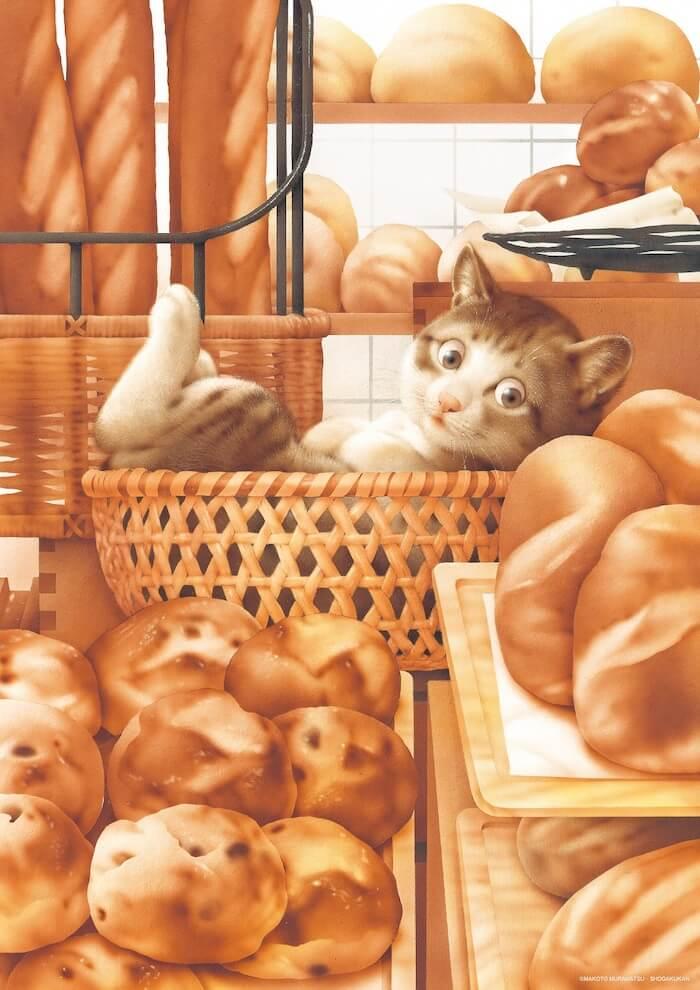 パン屋の籠の中でくつろいでいる猫のイラスト by 村松誠
