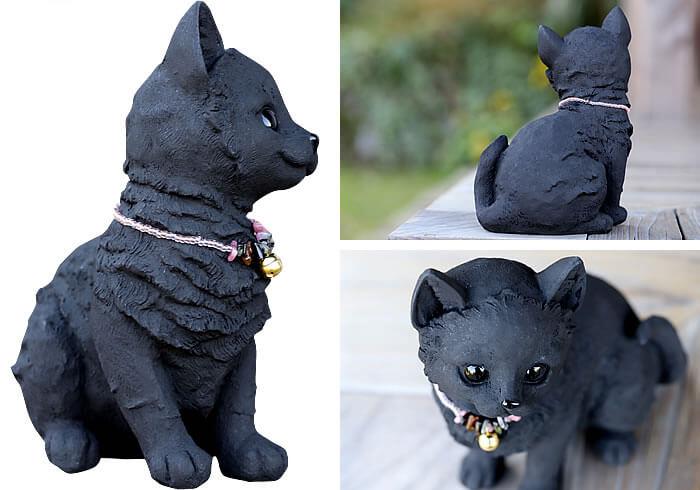 「竹炭のお座りネコちゃん」の製品イメージ(3方向)