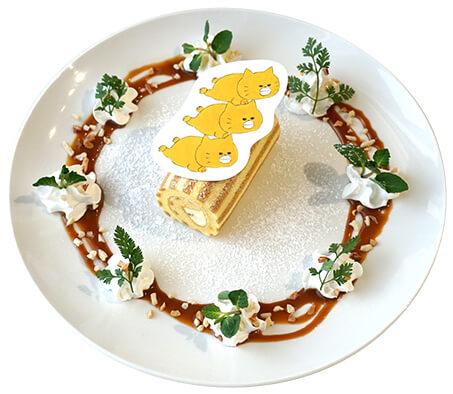 キャラメルクリームのしましまロールケーキ by ノラネコぐんだんコラボカフェ