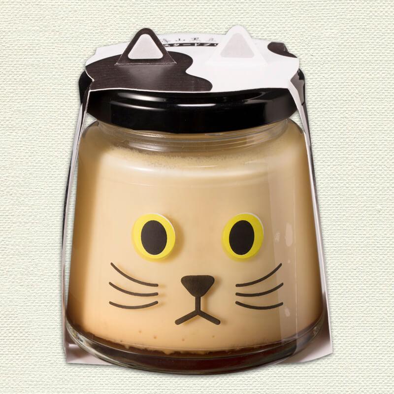 猫をモチーフにしたプリン、丹波篠山黒豆プリンの「マメちゃん」