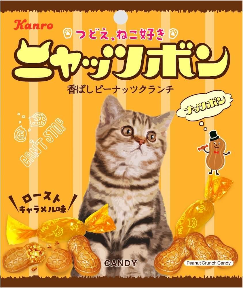 座った猫がデザインされた「ニャッツボン」の製品パッケージデザイン by カンロ