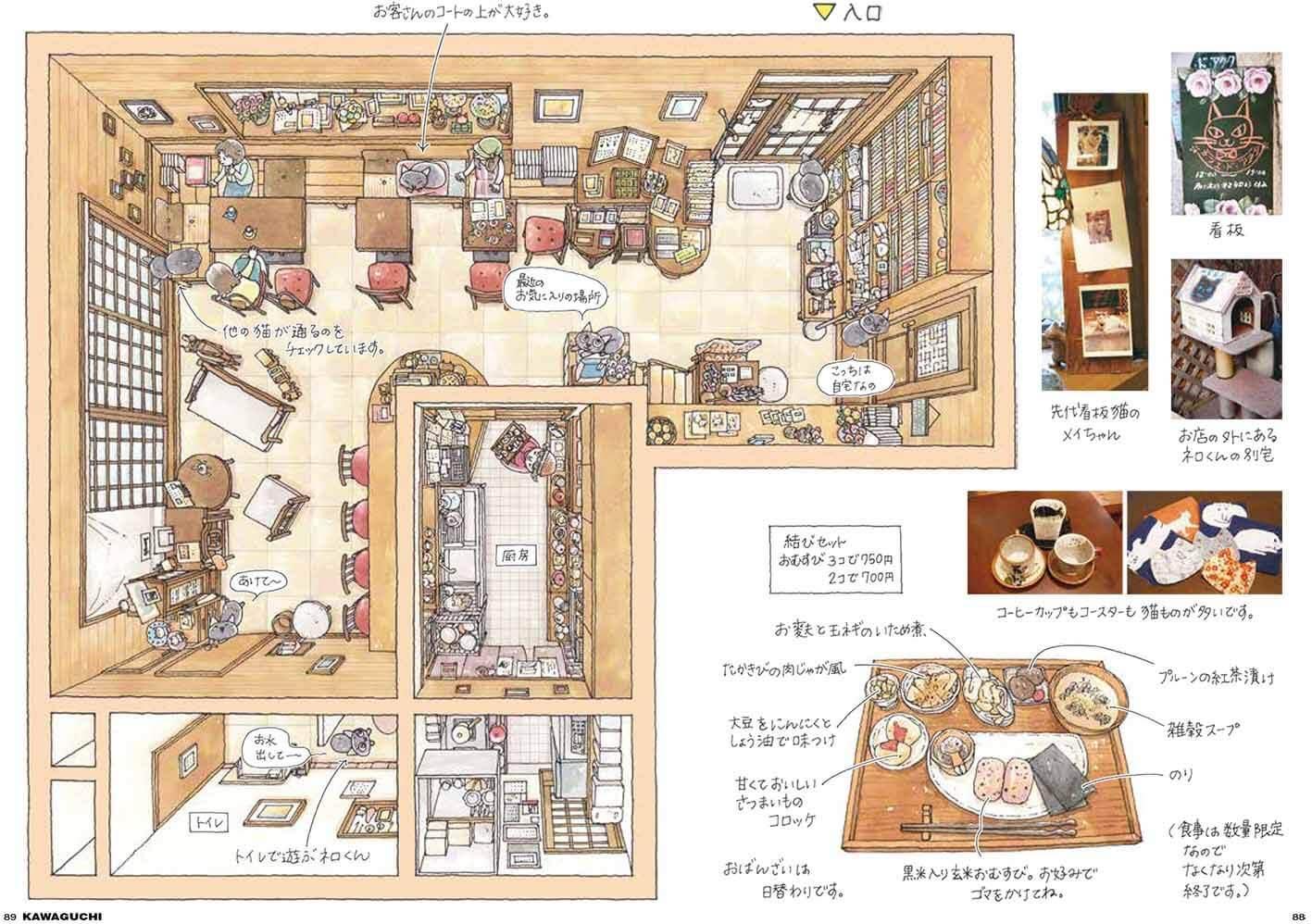 看板猫がいるお店の俯瞰図イメージ by イラストレーターの一志敦子さん