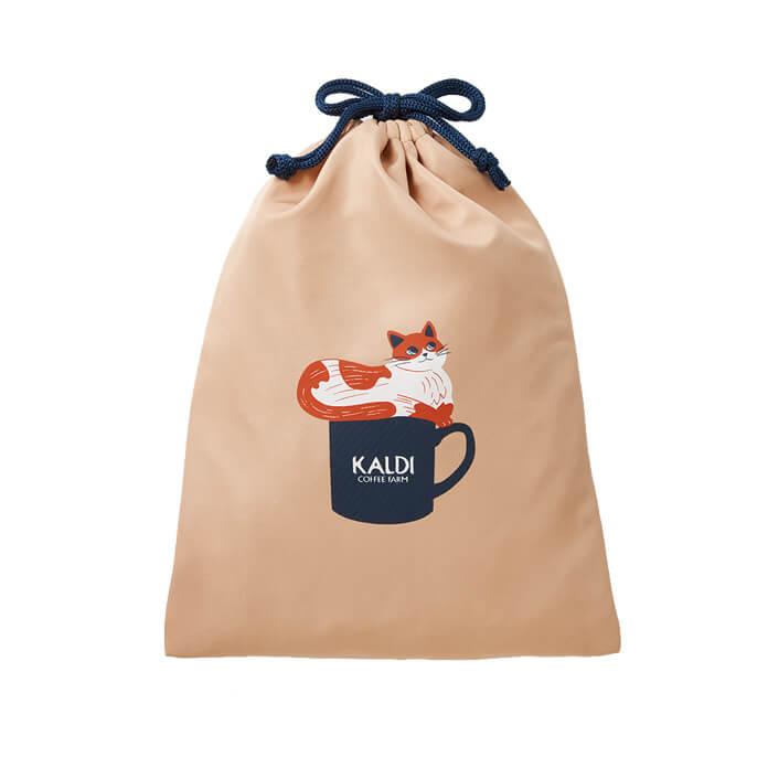 「ニャンコーヒーセット」の巾着袋、裏側のデザイン by カルディコーヒーファーム(KALDI COFFEE FARM)