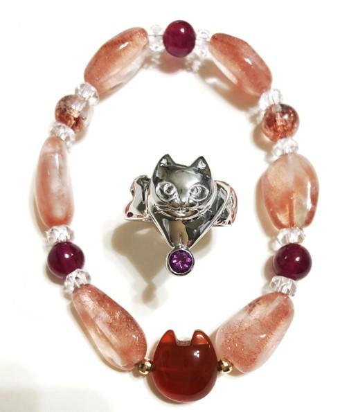 I.Cats一瀬尚美の「猫型天然石のブレスレット」「シルバー猫リング」